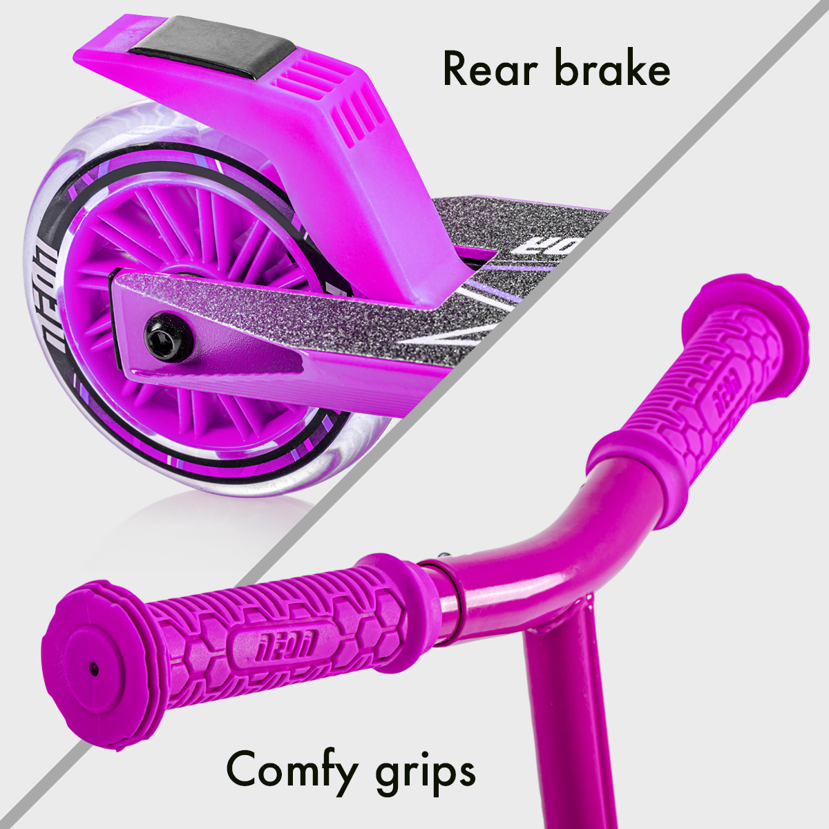 Rear brake and comfy grips for maximum control